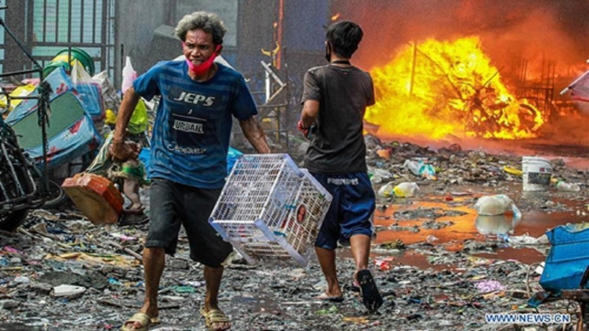 آتش سوزی در محله فقیرنشین مانیل